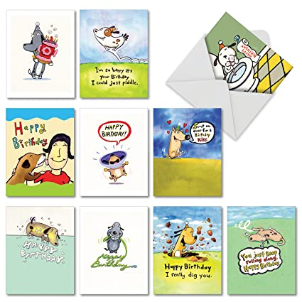 10 Doggy Birthday Boxed Bday Cards With Envelopes