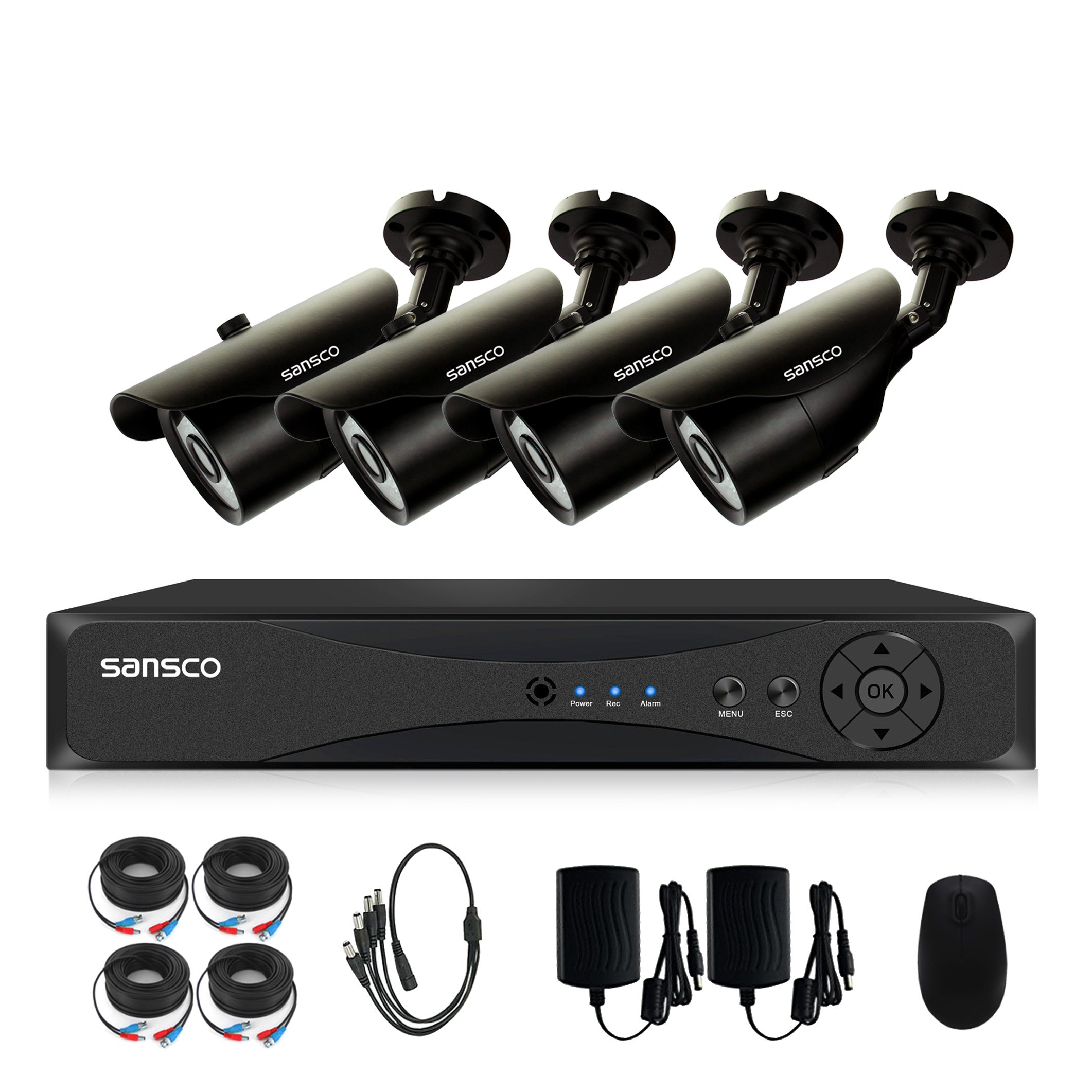 SANSCO Home Security Camera System with 4-Channel 1080N Smart DVR and 4 Bullet Cameras (Super HD 720p 1MP) Smart Surveillance Cameras Kit, No HDD Included by SANSCO (Image #2)