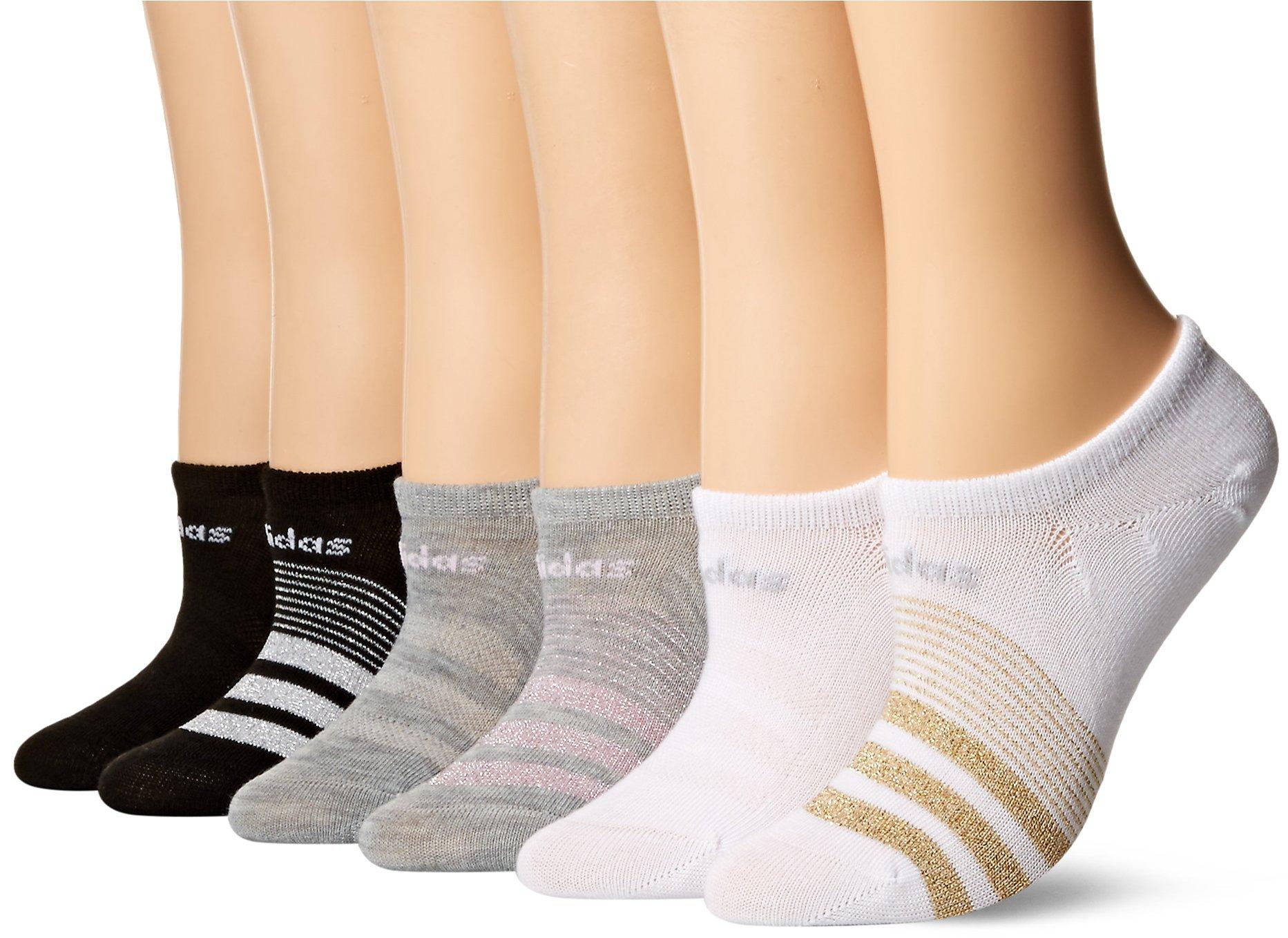 adidas Women's Superlite Super No Show Socks (6-Pair), White/Gold Lurex/Clear Onix Light Heather Grey/Aer, Medium, (Shoe Size 5-10) by adidas