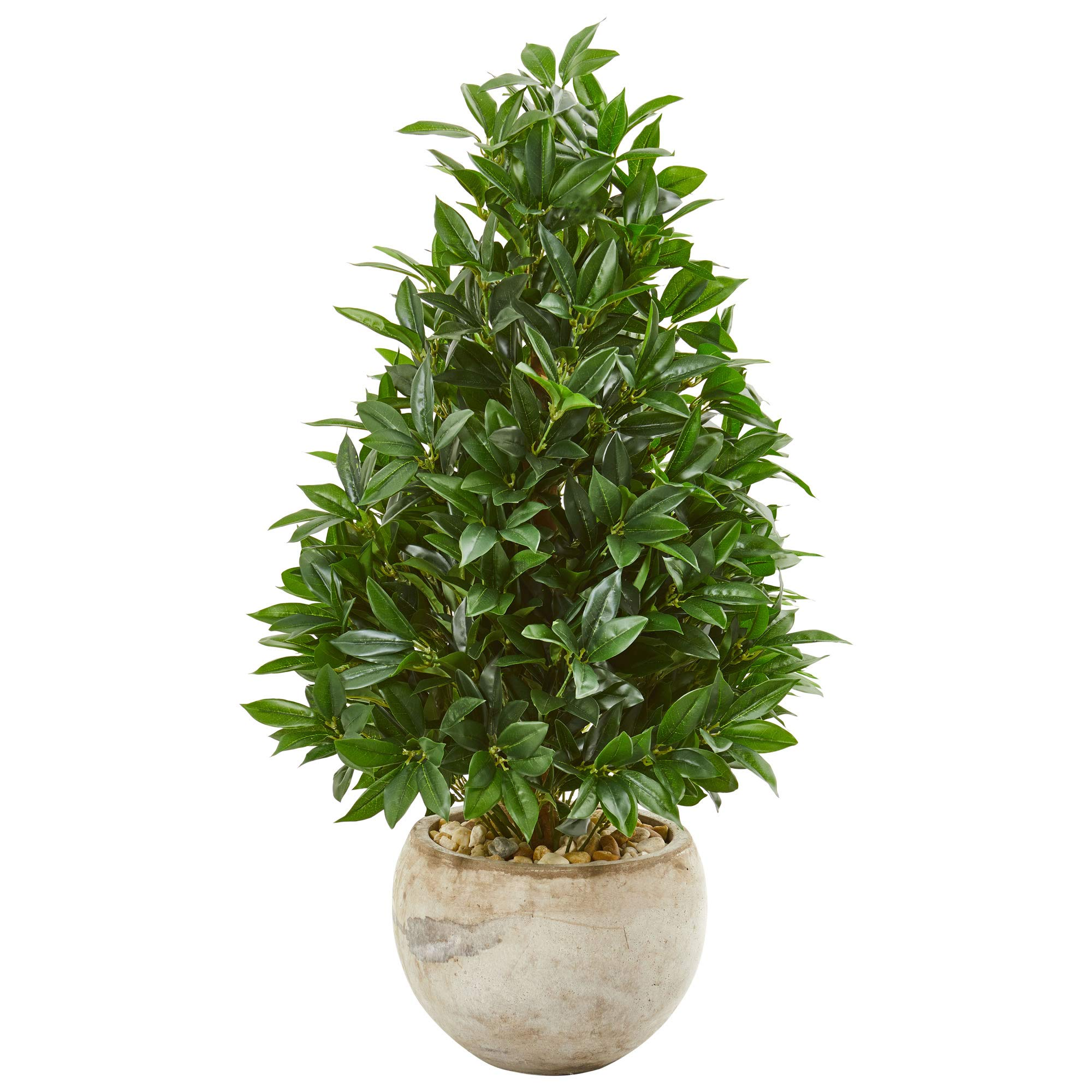 Nearly Natural 9362 38-in. Bay Leaf Cone Topiary Artificial Bowl Planter UV Resistant (Indoor/Outdoor) Silk Trees Green