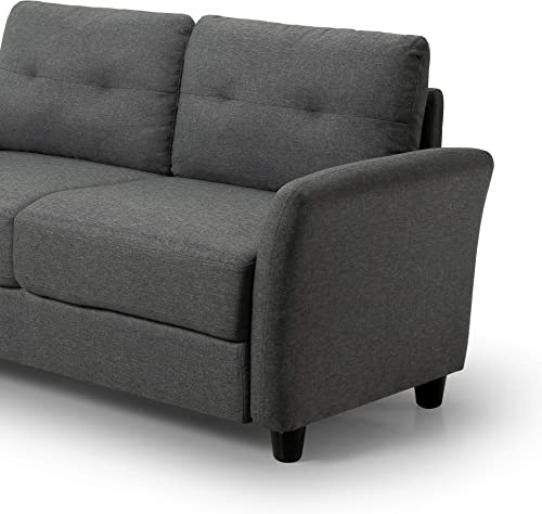 Zinus Ricardo Contemporary Upholstered 62.2 Inch Sofa Couch Loveseat, Dark Grey