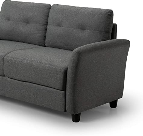 Zinus Ricardo Loveseat Sofa Tufted Cushions Easy Tool Free Assembly Dark Grey Furniture Decor Amazon Com