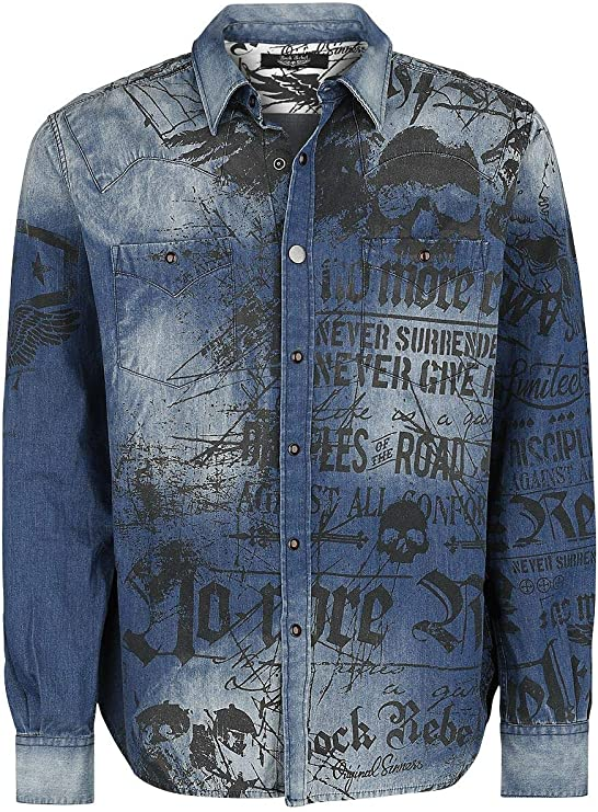 Rock Rebel by EMP Denim Shirt with Print Hombre Manga Larga Azul, Regular: Amazon.es: Ropa y accesorios