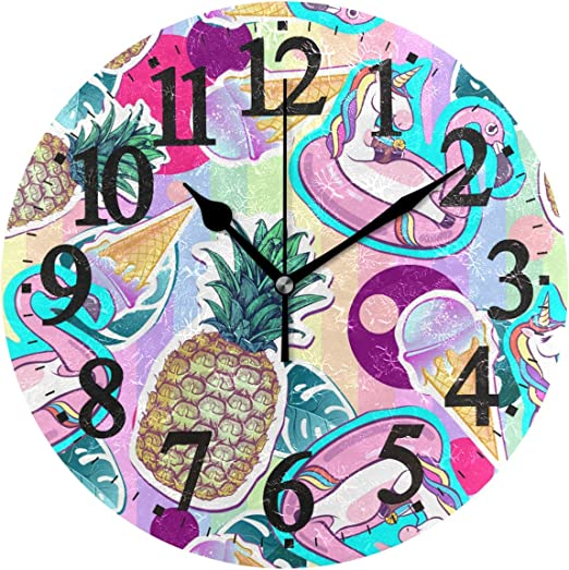 Amazon Com Wihve Decorative Round Clock Cute Unicorn Pineapple Flamingo Tropical Leafs Arabic Numerals Wooden Wall Clock Home Kitchen
