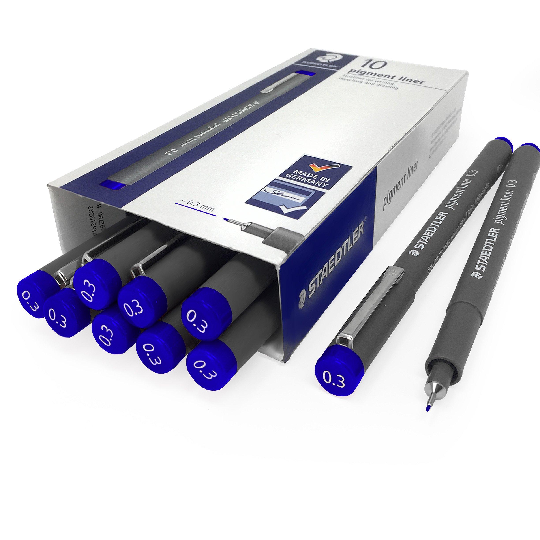 Staedtler 308 Pigment Liner Fineliner - 0.3mm - Pack of 10 - Blue
