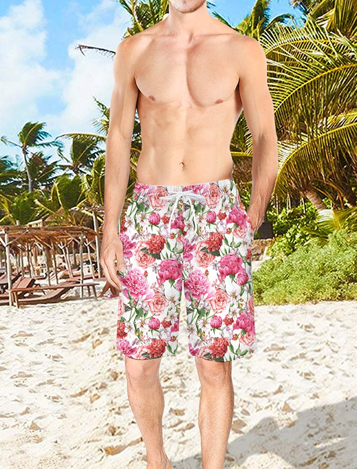 Mens Lightweight Slim Fit Quick Dry Beach Shorts Classic Floral Pattern Surf Beach Pants with Mesh Lining