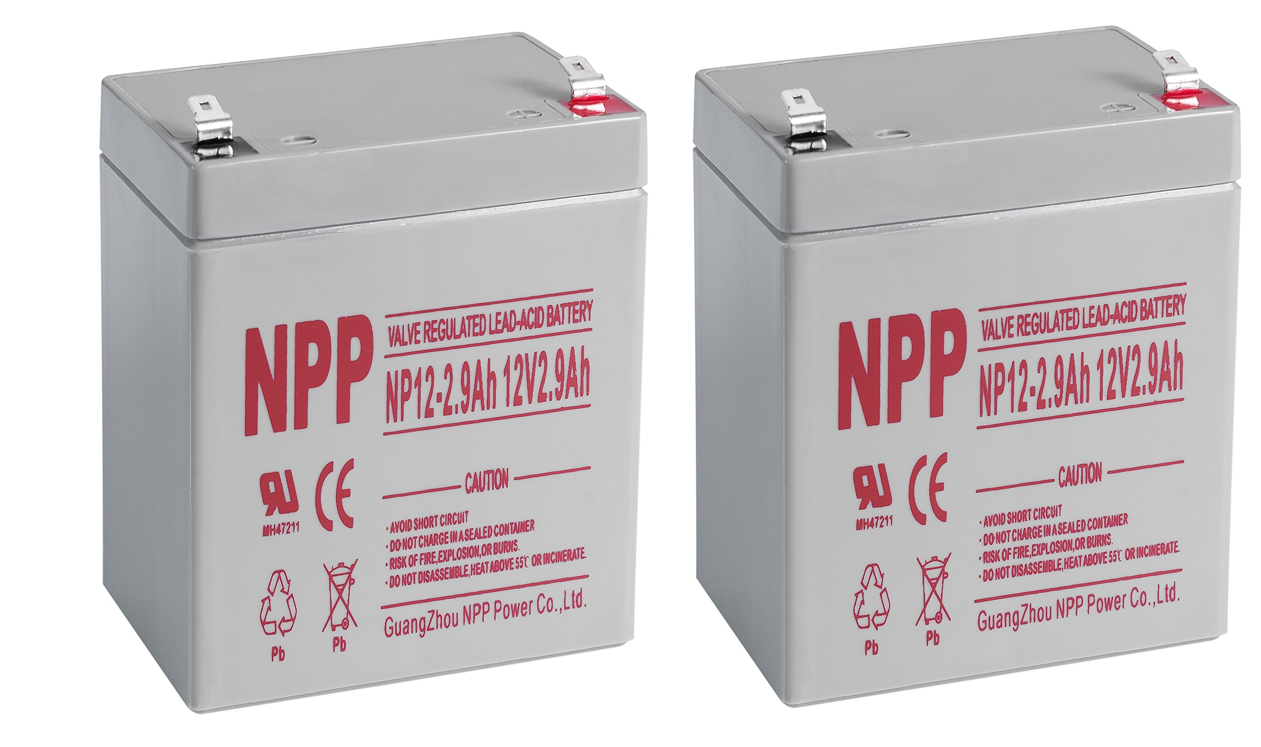 NPP NP12-2.9Ah SLA Sealed Lead Acid 12V 2.9Ah Battery With F1 Style Terminals / (2pcs)