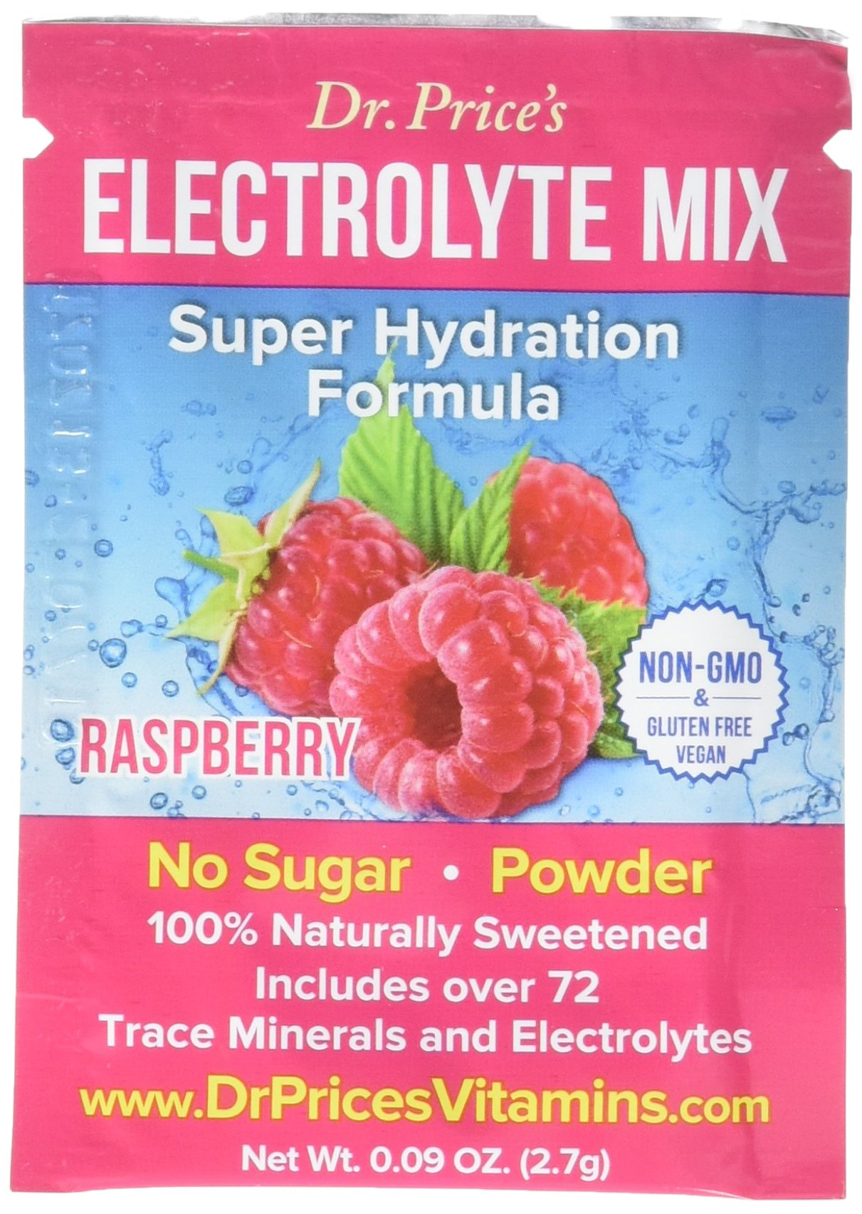 Electrolyte Mix Super Hydration Powder + 72 Trace Minerals | NEW! Raspberry Flavor (30 packets) Sports Drink Mix | Dr. Price's Vitamins | No Sugar, Non-GMO, Gluten Free, Keto & Vegan