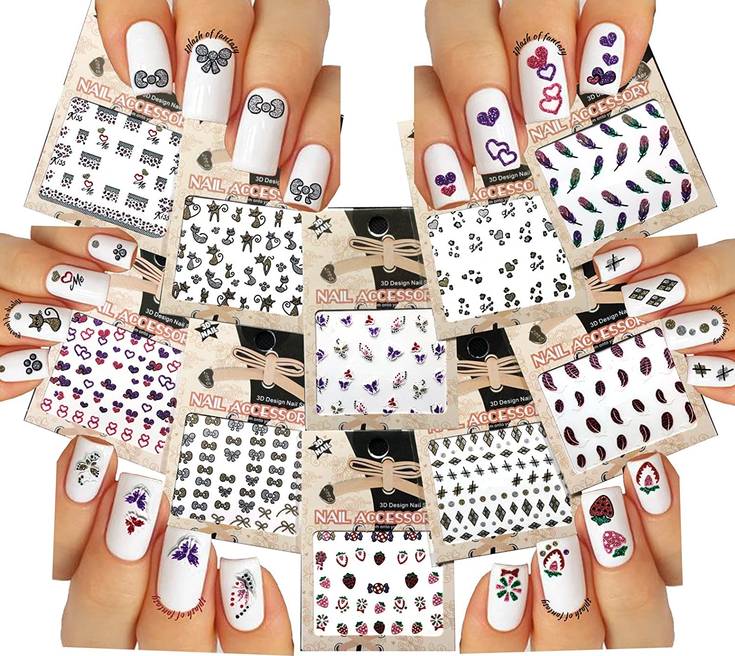 Amazon 10 Packs Mixed Styles 3d Nail Art Stickers Decals