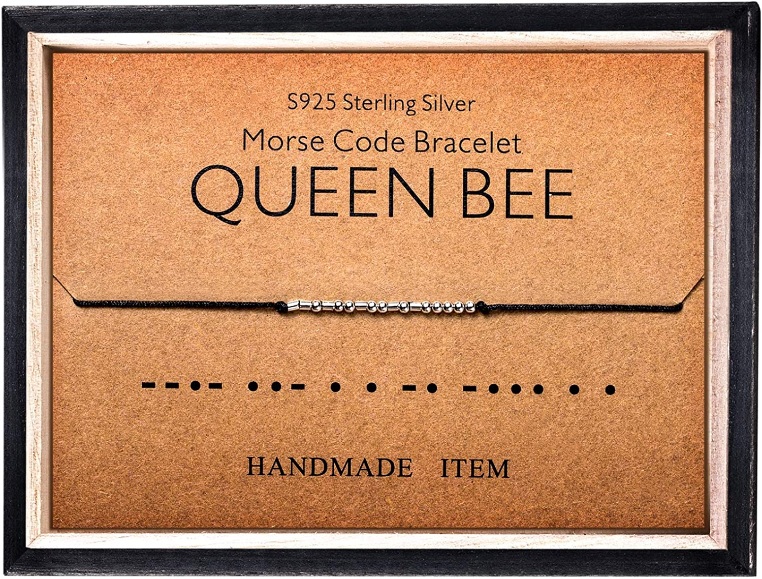 Morse Code Bracelet 925 Sterling Silver Beads on Silk Cord Secret Message QUEEN BEE bracelet Gift Jewelry for her