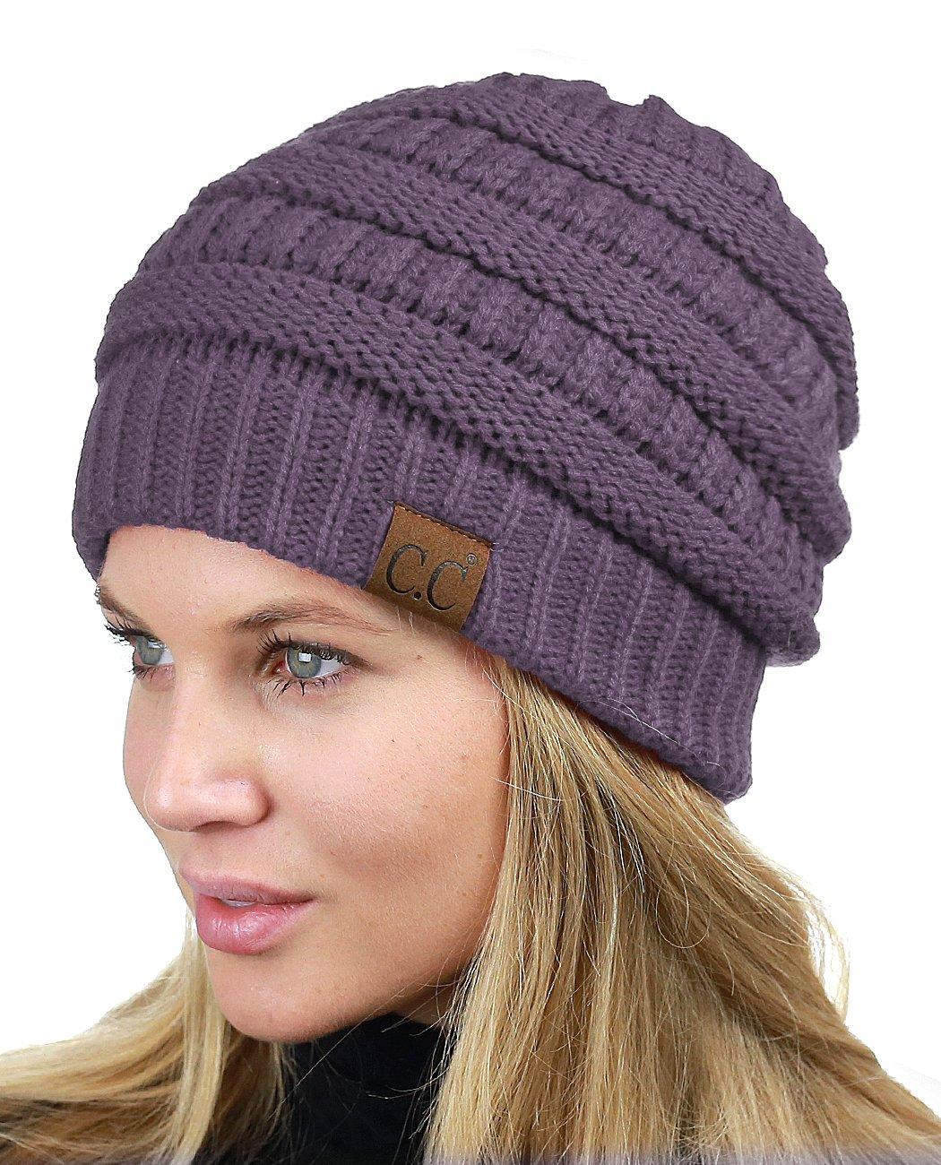 C.C Unisex Chunky Soft Stretch Cable Knit Warm Fuzzy Lined Skully Beanie Beige HAT25-BG
