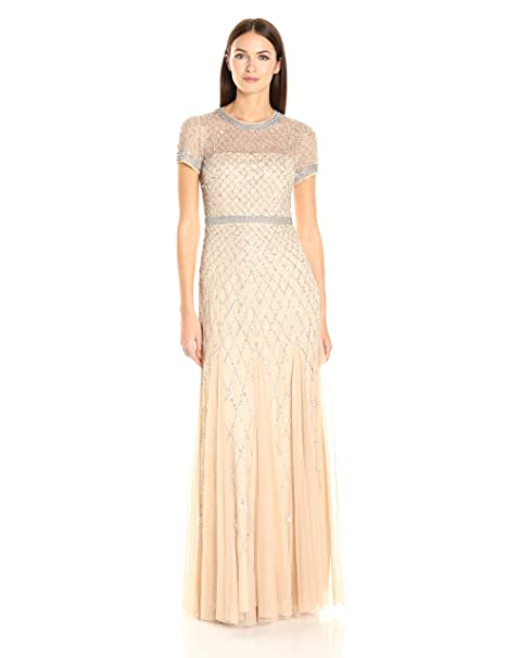 9a5e272b90 Adrianna Papell Women s Short-Sleeve Beaded Mesh Gown  Amazon.ca ...