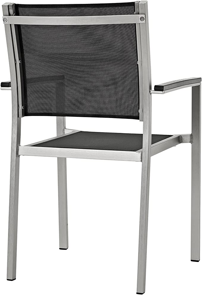 Amazon Com Modway Shore Aluminum Two Outdoor Patio Dining Arm Chairs In Silver Black Garden Outdoor