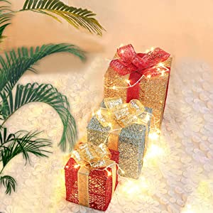 Lighted Gift Boxes Christmas, ZALALOVA Set of 3 Size Lighted Gift Boxes w/ 100 LEDs Indoor/Outdoor Christmas Decorations for Christmas Tree Porch Home Thanksgiving (Golden Silver Red, Need to Install)