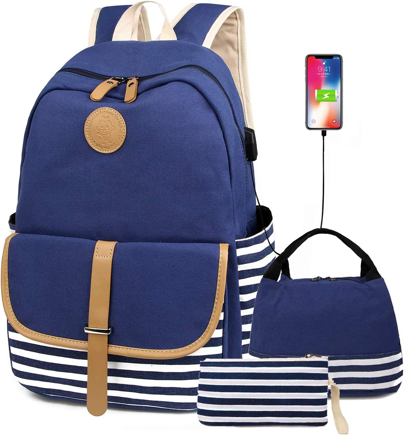 FLYMEI Canvas Backpack for Teens, Cute School Backpack for Girls 15.6'' Laptop Back Pack with USB Charging Port, Lightweight Blue Bookbag Casual Backpack for Women
