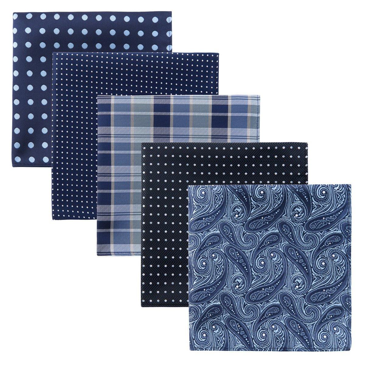 Retreez 5 Piece Assorted Woven Microfiber Premium Pocket Square Gift Box Set - Set 006 by Retreez