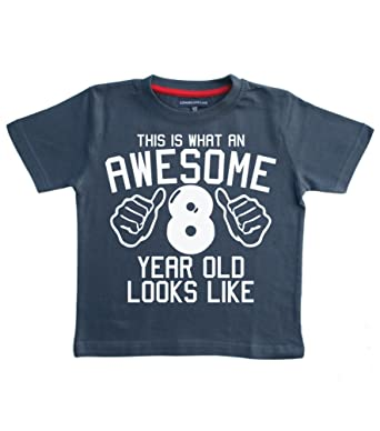 Edward Sinclair This What AN Awesome 8 Year Old Looks Like Navy Boys 8th Birthday T Shirt In Size 9 11 Years With A White Print Amazoncouk