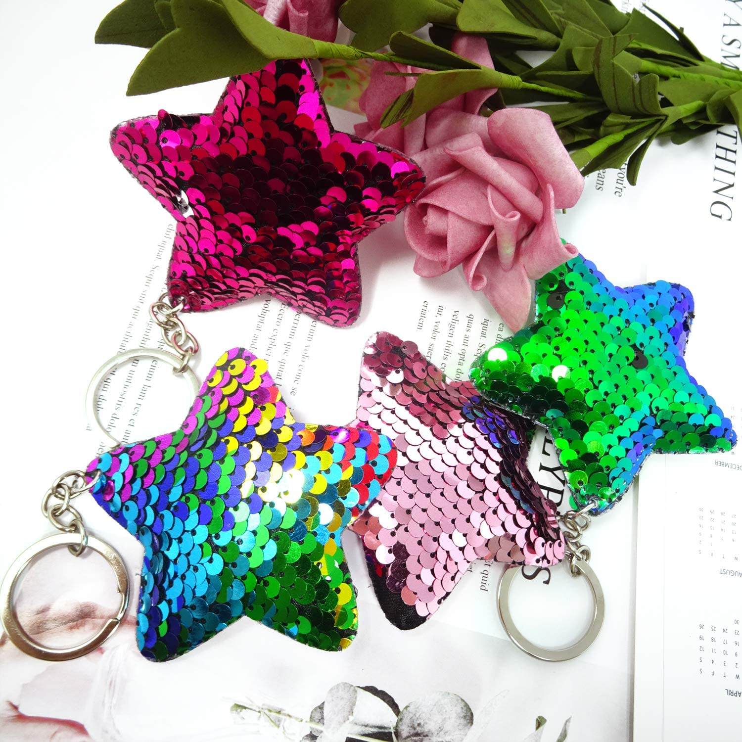 Honbay 4PCS Glitter Reversible Sequins Star Shaped Keychains Party Favors