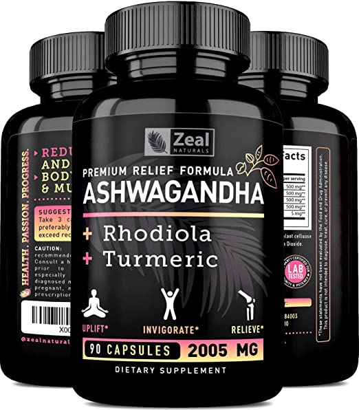 Ashwagandha MAX Relief — Organic Ashwagandha Capsules + Rhodiola Rosea + Turmeric - 100% Pure Ashwagandha Extract to Support Pain and Anxiety Relief & Adrenal Fatigue Supplements