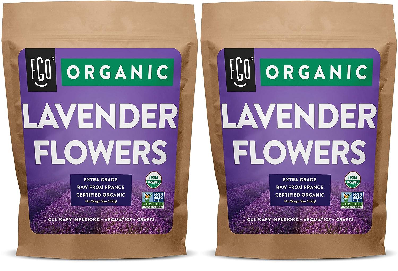 Organic Lavender Flowers Dried | Perfect for Tea, Baking, Lemonade, DIY Beauty, Sachets & Fresh Fragrance | 100% Raw From France | 2x Jumbo 16oz Resealable Kraft Bags | by FGO