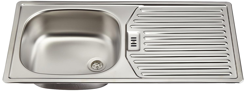 Rieber E 86K Évier de cuisine encastrable en acier inoxydable 1bac avec égouttoir Fabriqué en Allemagne 860x 435mm 72010904