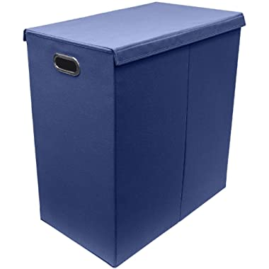 Sorbus Laundry Hamper Sorter with Lid Closure – Foldable Double Hamper, Detachable Lid and Divider, Built-in Handles for Easy Transport - (Navy Blue)