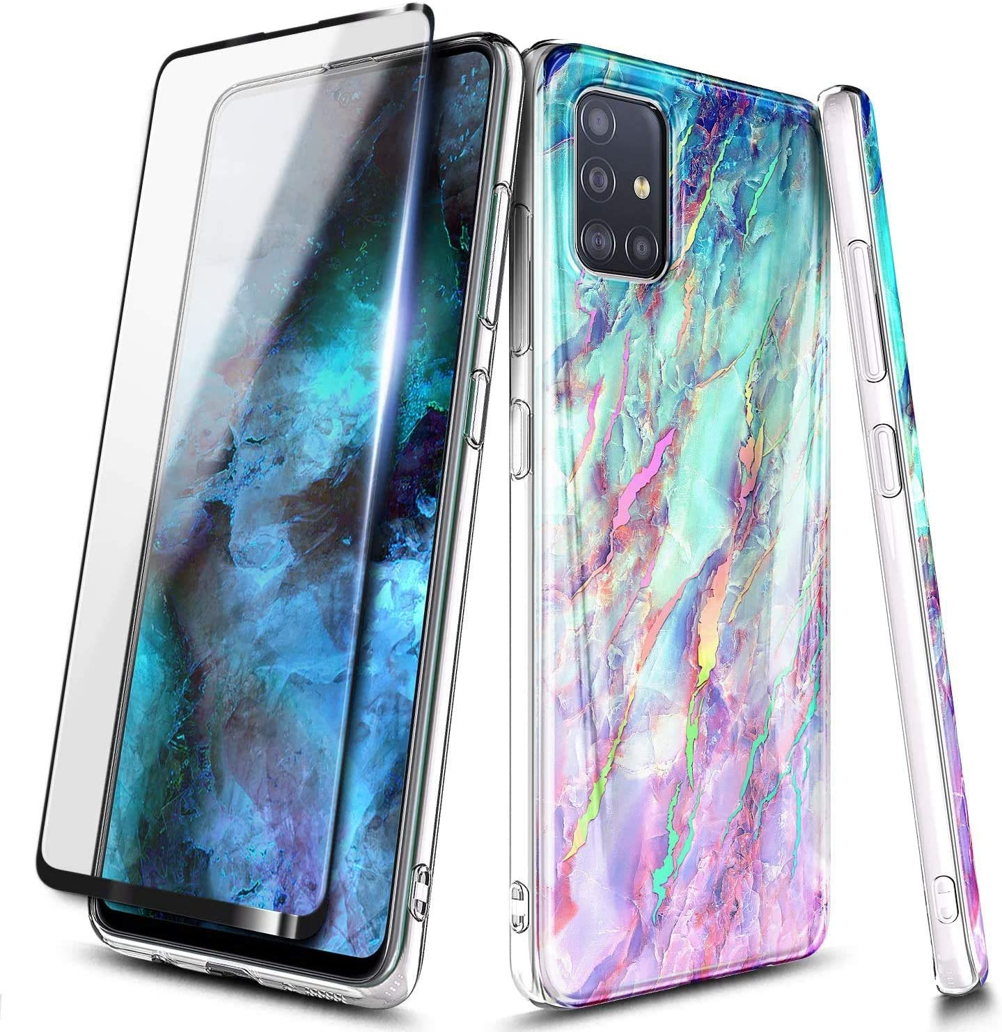 Amazon Com E Began Case For Samsung Galaxy A71 5g Not Fit A71 5g Uw Verizon With Tempered Glass Screen Protector Full Coverage Ultra Slim Thin Glossy Stylish Protective Marble Design Cover Case Nova