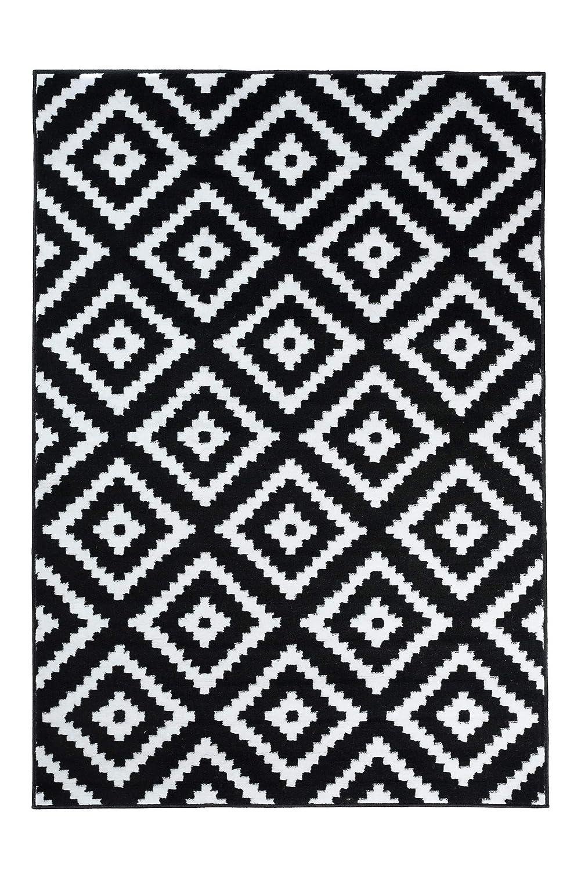 Tapiso Luxury Teppich Kurzflor Schwarz Weiss Modern Geometrisch Marokkanisch Gitter Karo Viereck Muster Wohnzimmer ÖKOTEX 250 x 350 cm