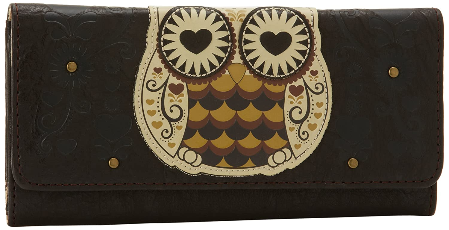 cebedc1739b5 Loungefly Retro Style Owl and Hearts Embossed Vegan Brown Checkbook Wallet