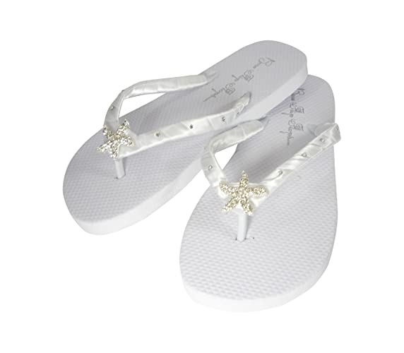 1ce4278796b1 Amazon.com  Starfish Flat Swarovski Flip Flops Womens Bridal Wedding Satin  Sandals  Handmade