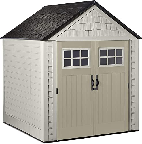 Rubbermaid 7×7 Ft Durable Weather Resistant Resin Outdoor Garden Storage Shed with Windows and Utility Hooks, Sand
