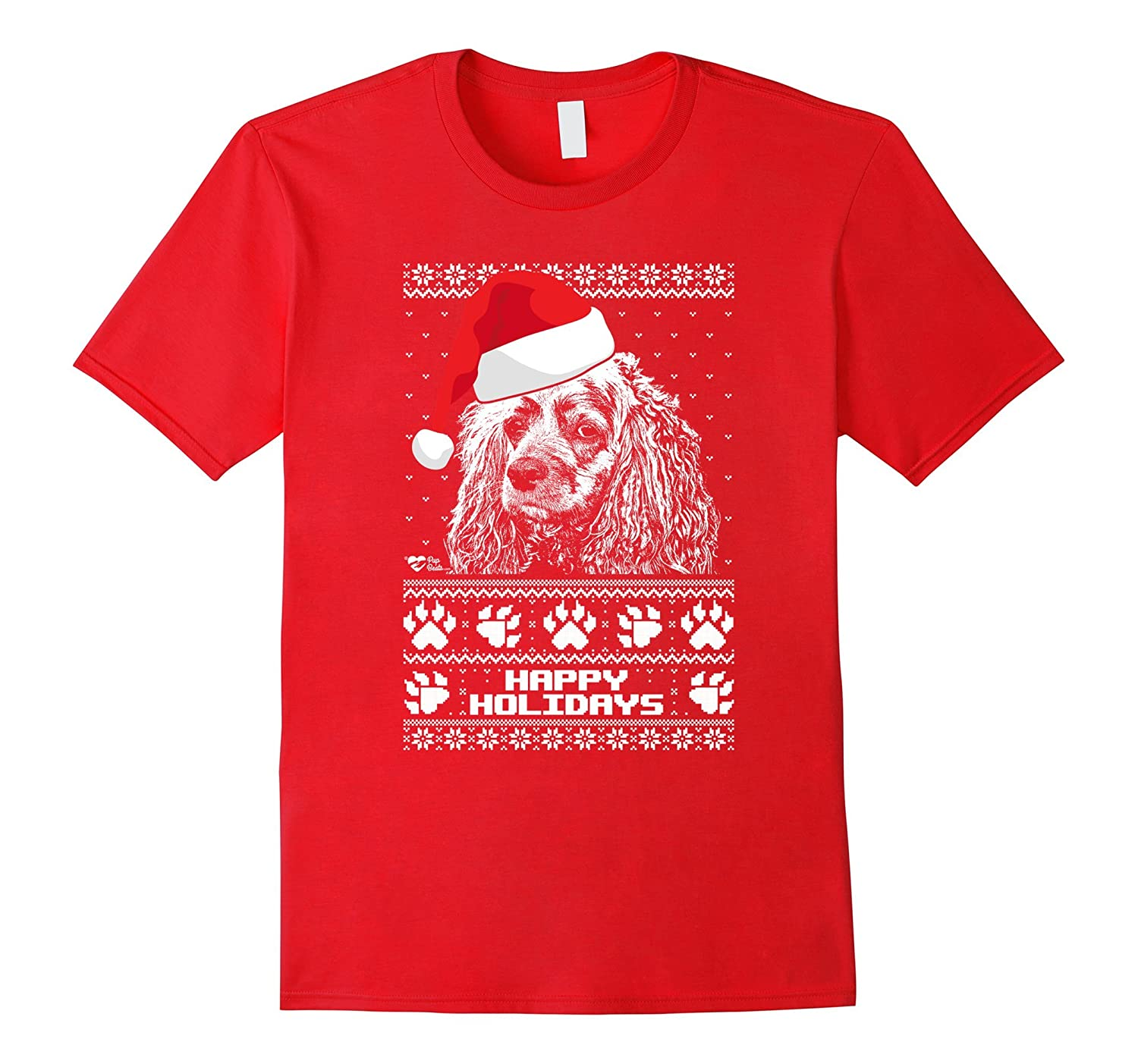 Cocker Spaniel Cute Happy Holidays Christmas Shirt-Art