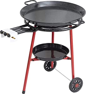 Mabel Home Paella Pan + Paella Burner and Stand Set on Wheels + Complete Paella Kit for up to 20 Servings - 23.65 inch Gas Burner + 25.60 inch Enamaled Steel Paella Pan