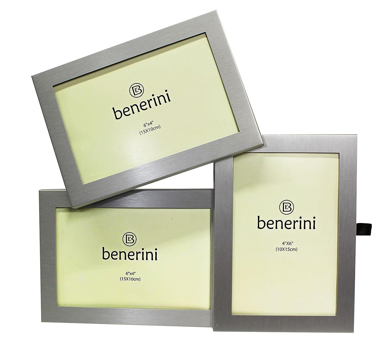 Amazon.de: benerini 3 Bild Gebürstetes Aluminium Satin mit Silber ...