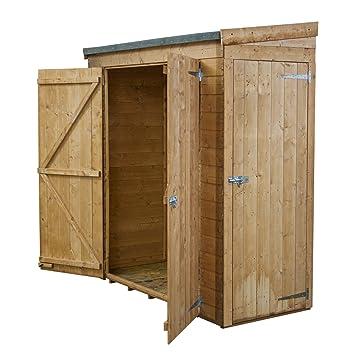 6x2 shiplap wooden garden pent shed double single door access felt included
