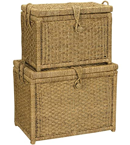 Household Essentials ML 6102 Seagrass Wicker Storage Chests With Hinged  Lids | Set Of 2
