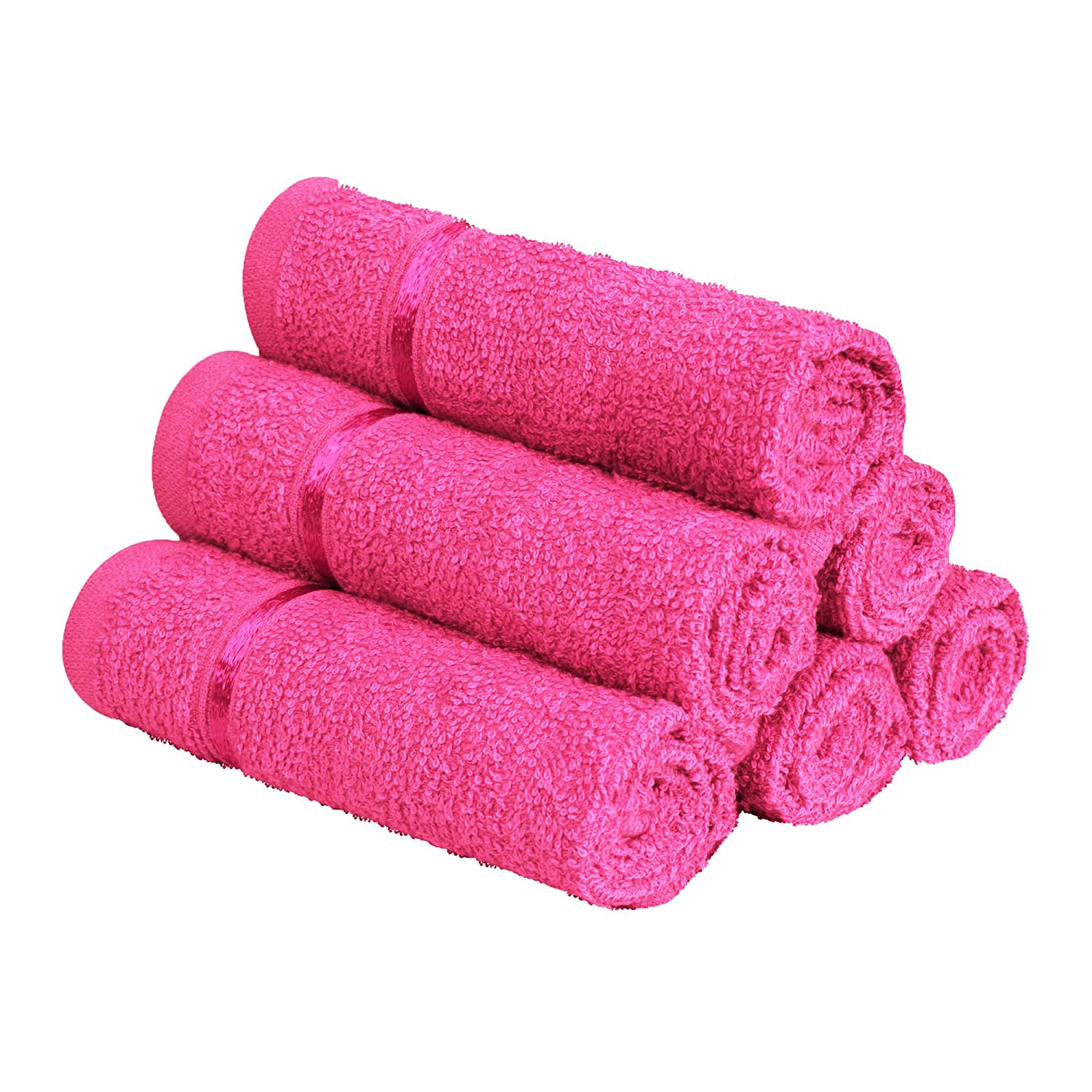 Story@Home 450 GSM Ultra Soft, Super Absorbent, Antibacterial Treatment, Face Towel, 30x30 cm (Pink) - Pack of 6