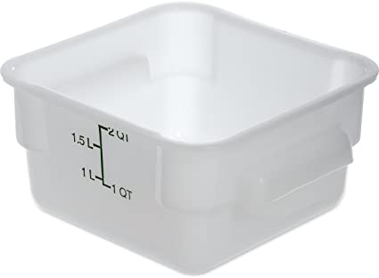 Carlisle 1073002 StorPlus Square Food Storage Box, Container Only, 2 Quart,  White (