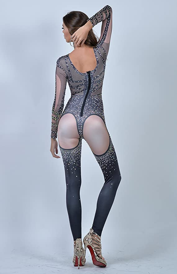 a3d4a359402c Amazon.com  Charismatico Black Cher Inspired Fishnet Crystallised Dance  Drag Queen Clubwear Bodycon Romper Catsuit Jumpsuit US0-US6  Clothing