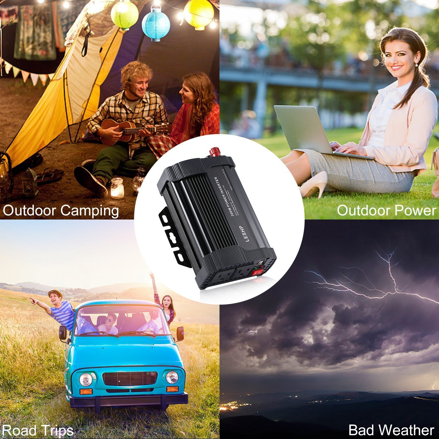 LESHP 400W Power Inverter DC 12V to AC 110V Car Adapter with 4.8A 2 USB Charging Ports by LESHP (Image #8)