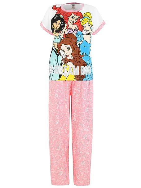 Princesas Disney - Pijama para mujer - Jasmine, Cinderella, Ariel y Belle - Medium