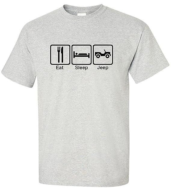 EatSleepTee Men's Eat Sleep Jeep T-Shirt Small Ash Grey