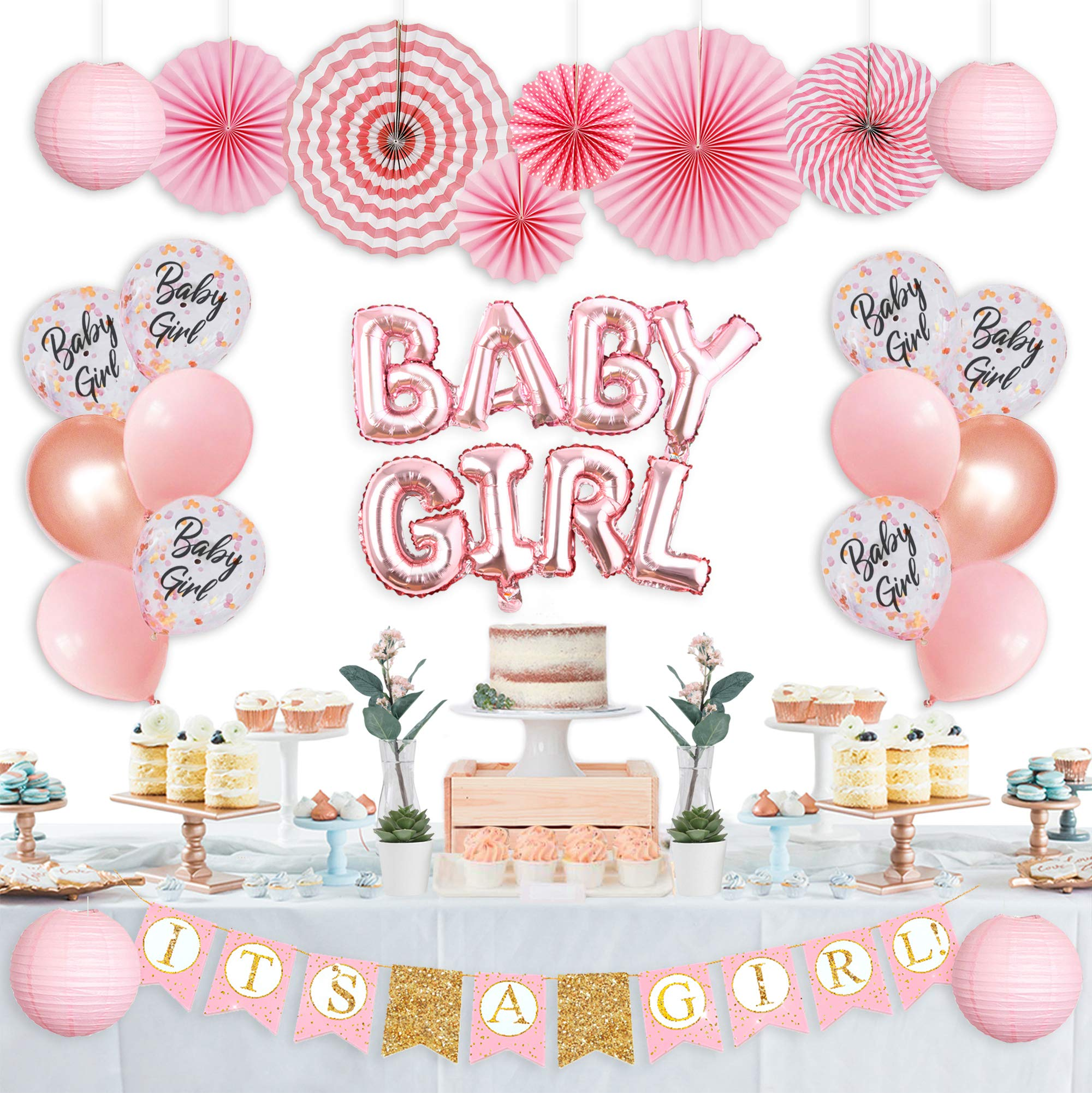 Baby Shower Decorations for Girl, Its A Girl Baby Shower Decorations, Gender Reveal, It's A Girl Letter Banner, Foil Letter Baby Girl Balloons Paper Lanterns Paper Fans I Baby Girl Decorations Set by MR. TARO by MR.TARO