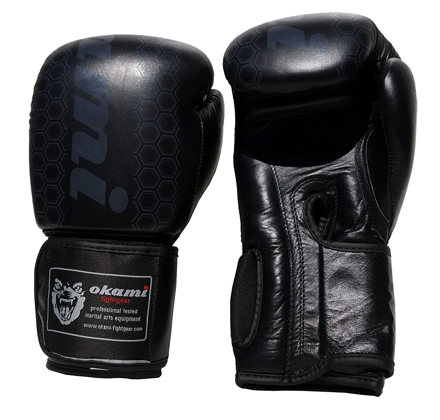 gloves Leder leather Elite MMA Muay Thai Black Edition OKAMI Boxhandschuhe