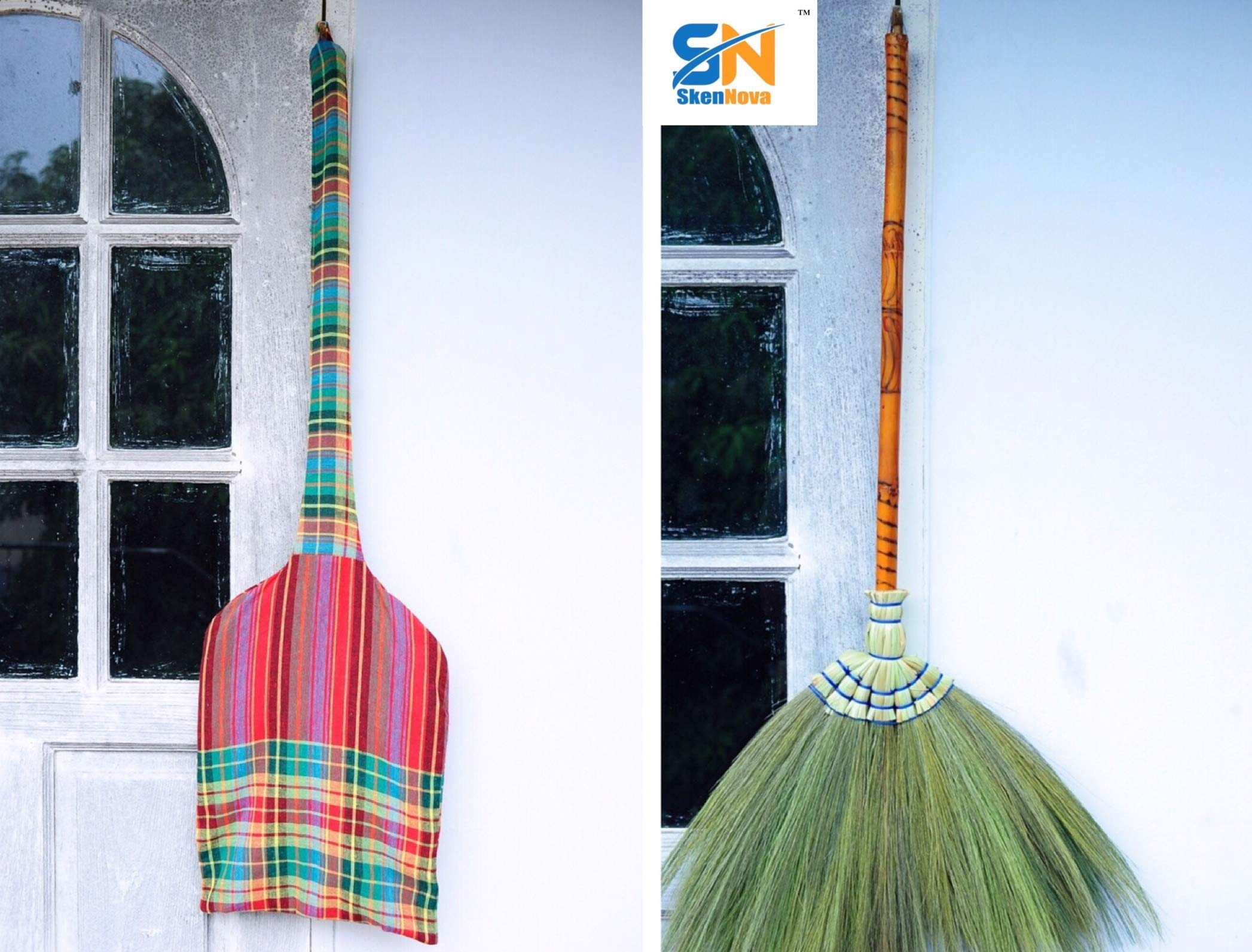 SKENNOVA - Thai Vintage Retro Grass Broom Boiled Wood Stick Handle Hand Grip Sedge with Grass Durable Broom Housewarming Gifts Asian Broom 40 inch with Loincloth Broom Bag with Hanger by SKENNOVA