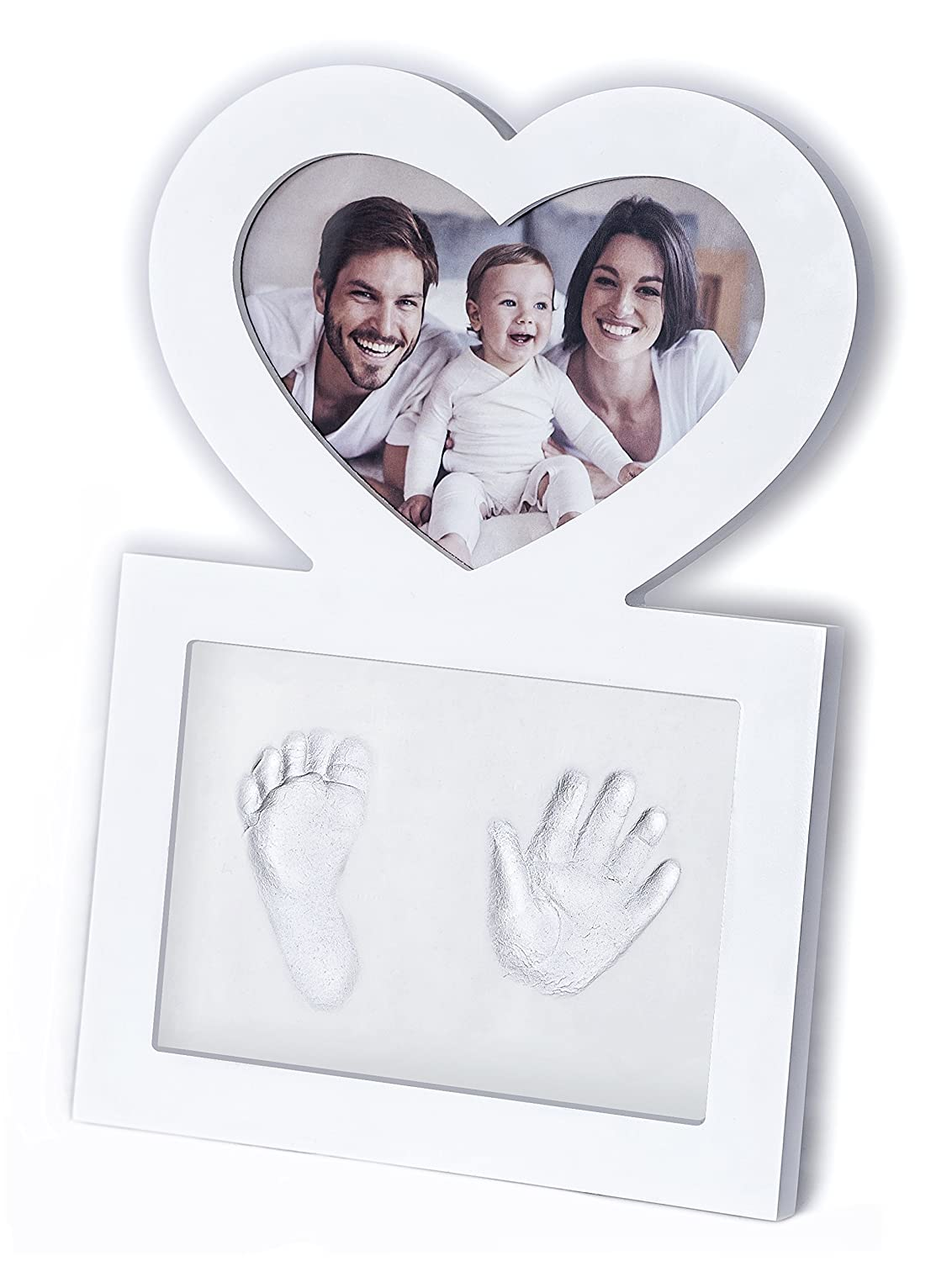 Click & Clay - Baby Hand and Footprint Kit, Baby Shower Gift Idea, Heart Shaped Picture Frame, White FTM eCommerce