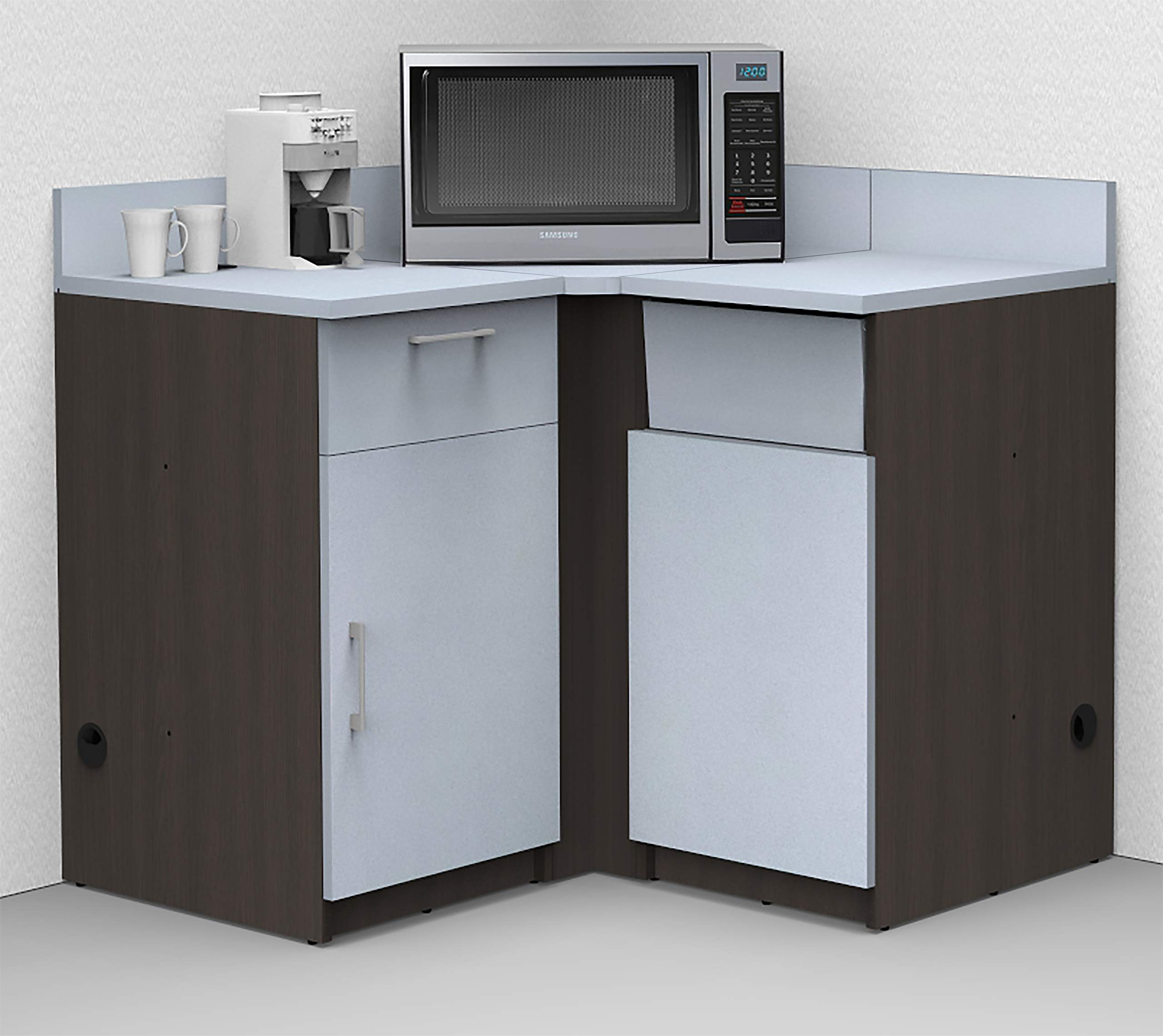 Coffee Kitchen Lunch Break Room Corner Space Saver Model 5976 BREAKTIME 3 Piece Color Espresso/Silver - Fully Factory Assembled. Purchase is Furniture Items ONLY. by Breaktime
