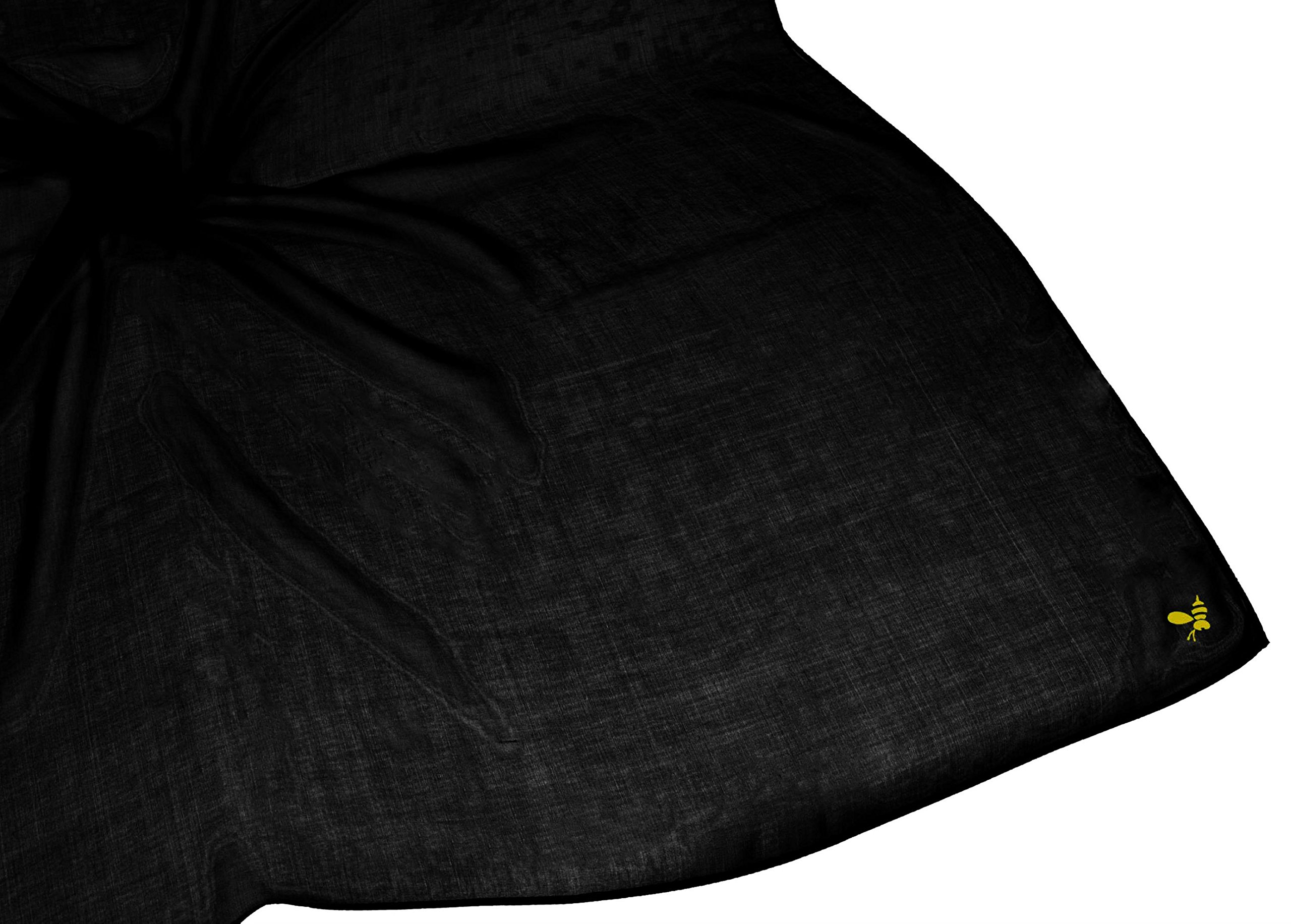 Black Large Very Fine Pure Silk Square Scarf by Bees Knees Fashion (Image #3)
