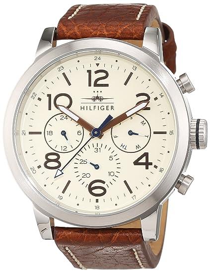 cfd039b908f1 Tommy Hilfiger 1791230 - Reloj análogico de cuarzo con correa de cuero para  hombre