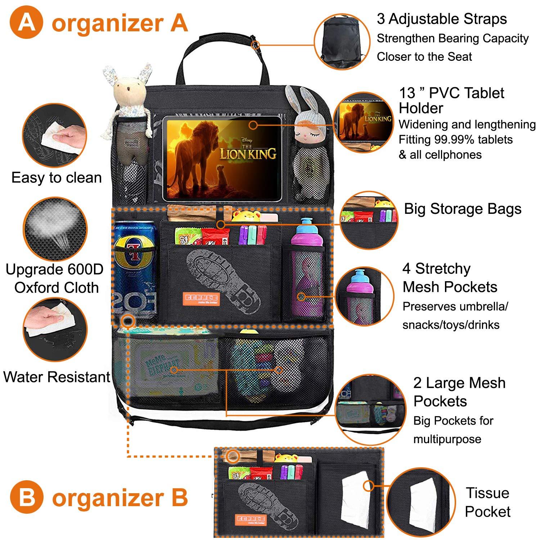 """Protector de Asiento con Soporte para Tel/éfono//Tablet 12/"""" y 19 Bolsillos para Accesorios de Viaje Materiales Resistentes a Ni/ños Pack de 2 en Negro Organizador para Asientos Traseros para Coche"""